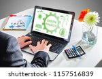 man typing on a laptop showing... | Shutterstock . vector #1157516839