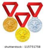 Gold, silver and bronze winners medals for first second and third place awards. - stock photo