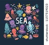 cute octopus. sea. poster   Shutterstock .eps vector #1157519023