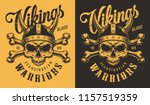 t shirt print with viking head... | Shutterstock .eps vector #1157519359