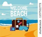 welcome beach card | Shutterstock .eps vector #1157522773