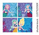 set of mermaids cartoon | Shutterstock .eps vector #1157525509