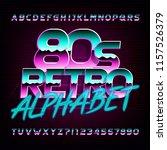80s retro beveled alphabet font.... | Shutterstock .eps vector #1157526379