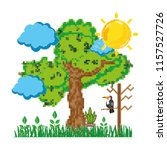 pixelated big tree with nature... | Shutterstock .eps vector #1157527726
