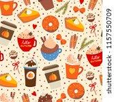 pumpkin spice. various tasty... | Shutterstock .eps vector #1157550709