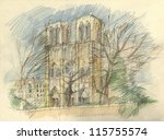 crayon drawing of the historic... | Shutterstock . vector #115755574