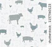 Stock photo seamless vector modern farmhouse cow chicken and pig pattern in blue gray green silver with 1157560123
