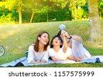 asian family enjoyed outdoor... | Shutterstock . vector #1157575999