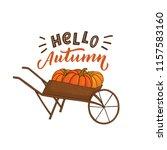 pumpkins on truck with hand... | Shutterstock .eps vector #1157583160