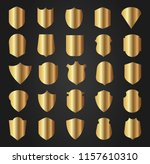 gold shield shape icons set. 3d ... | Shutterstock .eps vector #1157610310