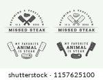 set of vintage butchery meat ... | Shutterstock . vector #1157625100