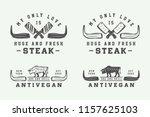 set of vintage butchery meat ... | Shutterstock . vector #1157625103