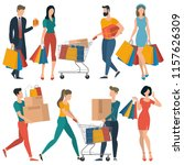 flat design shopping people... | Shutterstock .eps vector #1157626309
