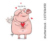 cute pink pig with a wings and... | Shutterstock .eps vector #1157656450