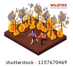 wildfire isometric composition... | Shutterstock .eps vector #1157670469