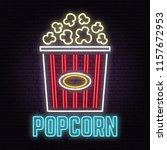 retro neon popcorn sign on... | Shutterstock .eps vector #1157672953