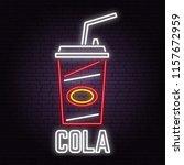 retro neon cola sign on brick... | Shutterstock .eps vector #1157672959