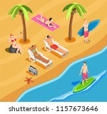 people on beach vacation... | Shutterstock .eps vector #1157673646