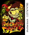 halloween party poster with... | Shutterstock .eps vector #1157674780