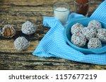 homemade chocolate coconut... | Shutterstock . vector #1157677219