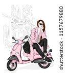beautiful girl in a stylish... | Shutterstock .eps vector #1157679880