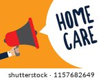 writing note showing home care. ... | Shutterstock . vector #1157682649