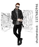 handsome guy in stylish clothes.... | Shutterstock .eps vector #1157682946