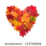 Autumn Heart Symbol Isolated...