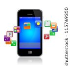 mobile smart phone with... | Shutterstock . vector #115769350