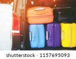 luggage baggage colorful many... | Shutterstock . vector #1157695093