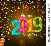 happy new year 2019 greeting... | Shutterstock .eps vector #1157701549