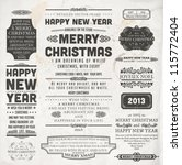 Christmas decoration collection | Set of calligraphic and typographic elements, frames, vintage labels and borders. Floral ornaments and old paper texture. All for holiday invitation design. | Shutterstock vector #115772404