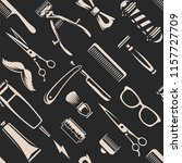 barber tools seamless texture.... | Shutterstock .eps vector #1157727709