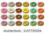 set donut with different icing  ... | Shutterstock .eps vector #1157735356