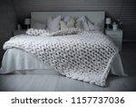 cozy white scandinavian bedroom ... | Shutterstock . vector #1157737036