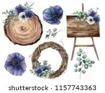 watercolor wedding decor set...   Shutterstock . vector #1157743363