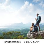 hikers with backpacks enjoying... | Shutterstock . vector #115775644