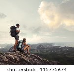 hikers with backpacks enjoying... | Shutterstock . vector #115775674