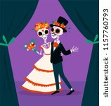skeletons of the bride and... | Shutterstock .eps vector #1157760793