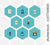 set of beverage icons flat...   Shutterstock . vector #1157765833