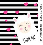 little cute llama with heart... | Shutterstock .eps vector #1157767063