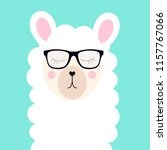 little cute llama with glasses... | Shutterstock .eps vector #1157767066
