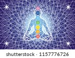 silhouette of a yogi in a lotus ... | Shutterstock . vector #1157776726