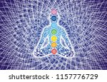 silhouette of a yogi in a lotus ... | Shutterstock . vector #1157776729
