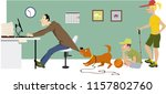 overworking man trying to keep... | Shutterstock .eps vector #1157802760