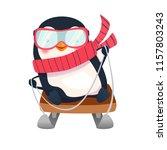 penguin on sled. penguin... | Shutterstock . vector #1157803243