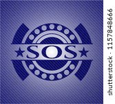sos badge with denim texture | Shutterstock .eps vector #1157848666