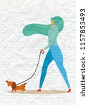 Stock vector girl walking with dog vector illustration in a flat style 1157853493
