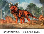 a red and black styracosaurus... | Shutterstock . vector #1157861683