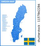 the detailed map of sweden with ... | Shutterstock .eps vector #1157862286